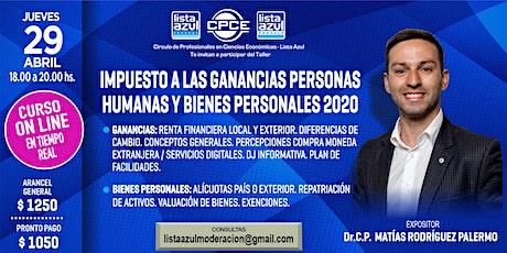IMPUESTO A LAS GANANCIAS PERSONAS HUMANAS Y BIENES PERSONALES 2020 entradas