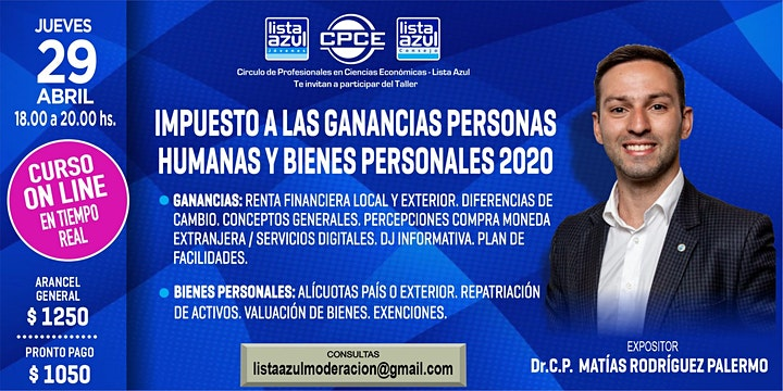 Imagen de IMPUESTO A LAS GANANCIAS PERSONAS HUMANAS Y BIENES PERSONALES 2020
