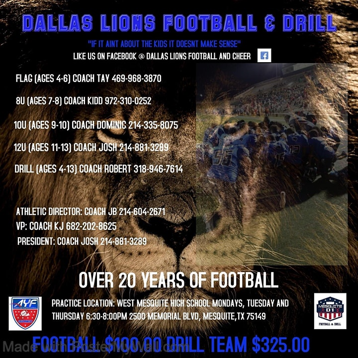 FREE FOOTBALL CAMP ***DALLAS LIONS ALUMNI ***D1 COLLEGE PLAYERS**** image