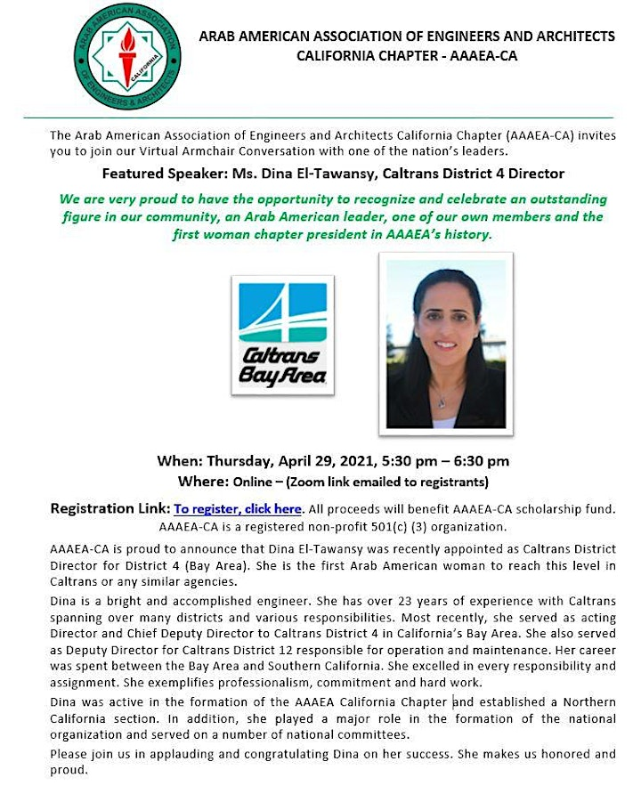 Armchair Chat with Caltrans District 4 Director, Dina El-Tawansy image