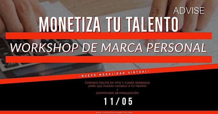 Imagen de Monetiza tu talento - Workshop de Marca personal (Virtual por ZOOM)