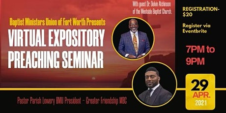 Expository Preaching Seminar feat. Pastor Delvin Atchison tickets