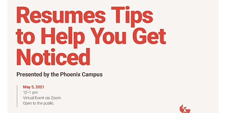 Webinar: Resumes Tips to Help You Get Noticed tickets