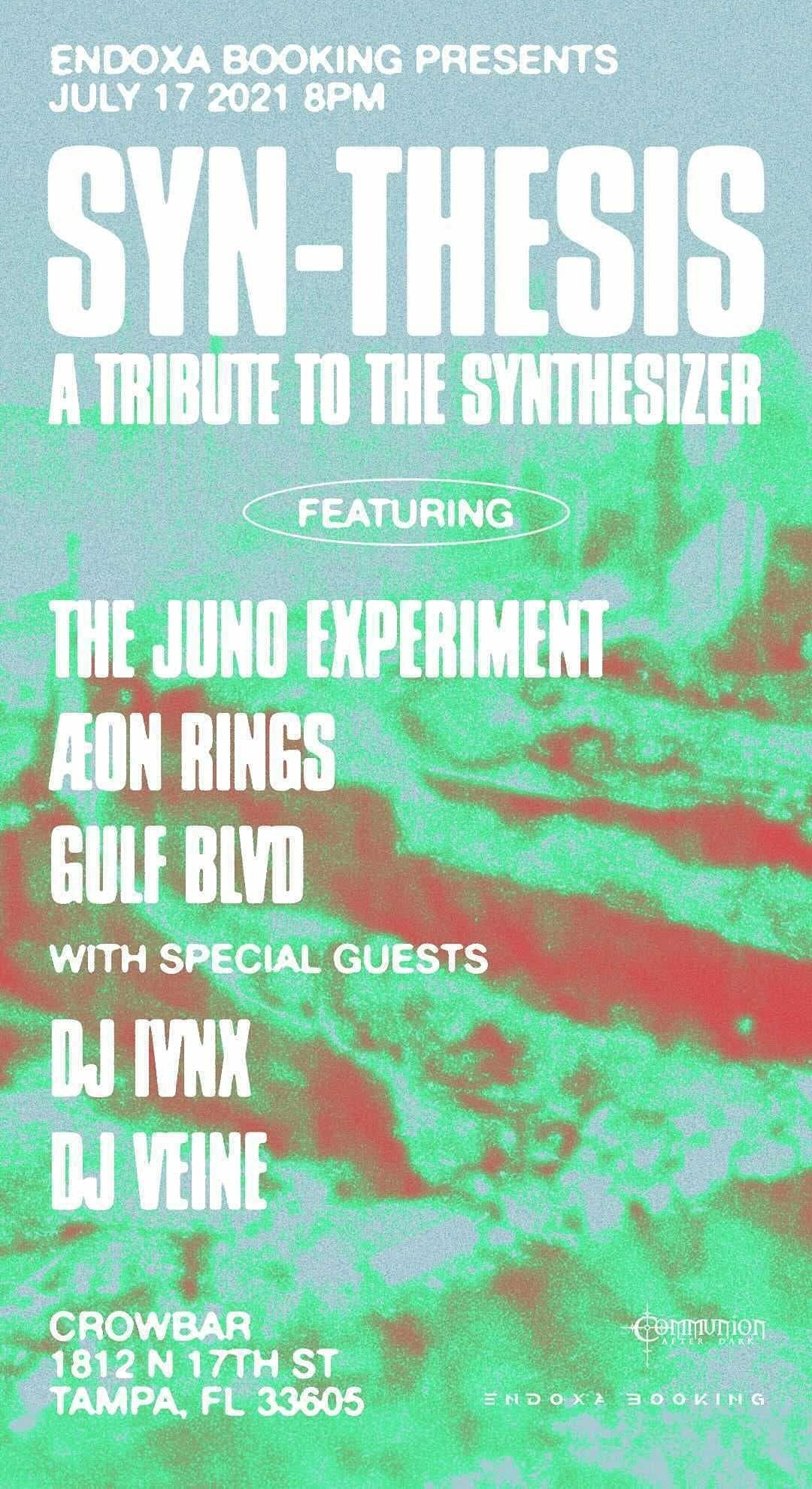 A night of electronic and industrial music with:  The Juno Experiment Aeon Rings Gulf Blvd DJ IVNX DJ VEINE