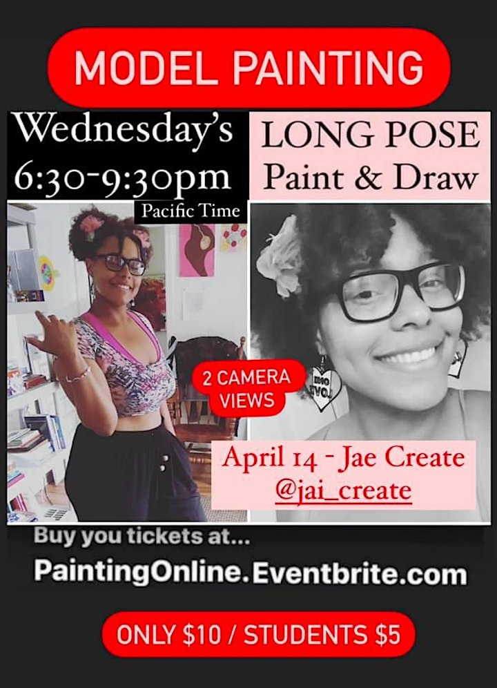 Painting Pizzazz *ONLINE* - 3 hour pose with a Model on Zoom ONLY $10 image