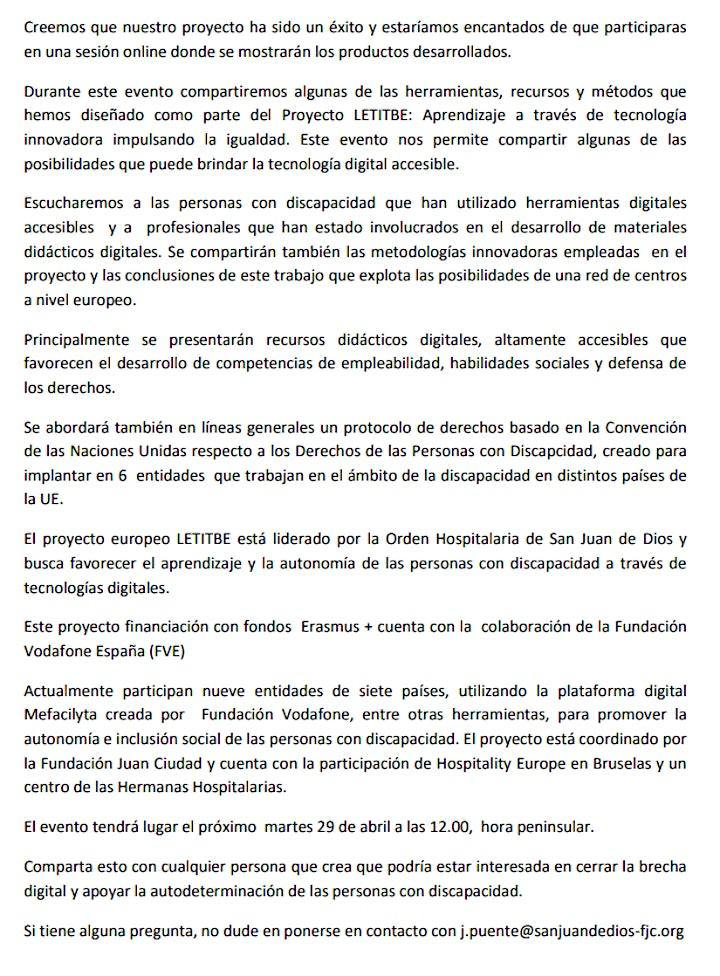 Imagen de Evento Multiplicador LETITBE Erasmus+ Fundación Juan Ciudad