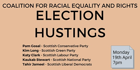 CRER Race Equality Scottish Parliament Election Hustings tickets