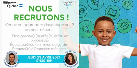 Recrutement Centre de services scolaire de Montréal (CSSDM) billets