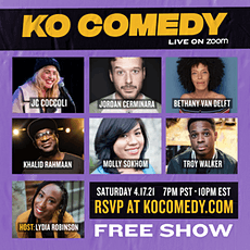KO Comedy Live on Zoom: Saturday, April 17th, 2021 tickets