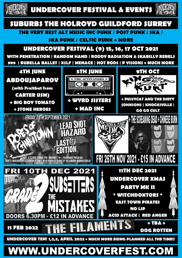 Undercover Punk + Skank down with THE FILAMENTS  +THE BLUNDERS + DOG ROTTEN image