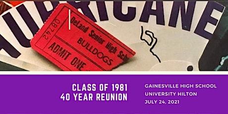 Gainesville High School Class of 1981 - 40 Year Reunion tickets