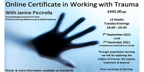 Online Certificate in Working with Trauma Training tickets