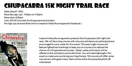 Chupacabra 15K night trail race entradas