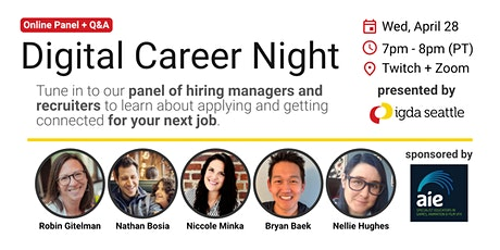 IGDA Seattle Digital Career Night - Hiring Managers and Recruiter Panel tickets