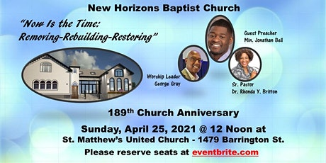 April  25-12PM  189th Church Anniversary tickets