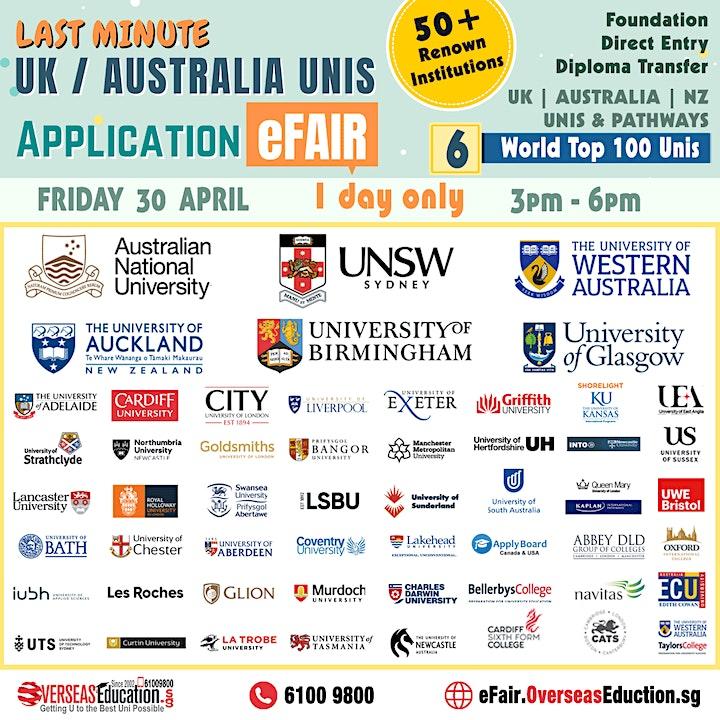 Last Minute UK/Australia Unis Application E-Fair image