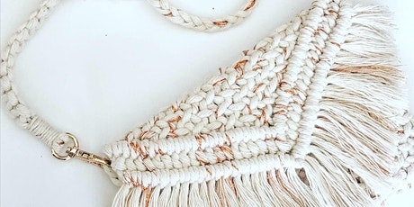 Woven macrame  clutch purse tickets