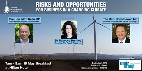 Risks and Opportunities in a Changing Climate - Business Breakfast tickets