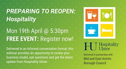 PREPARING TO REOPEN: HOSPITALITY (MID AND EAST ANTRIM BOROUGH COUNCIL) tickets