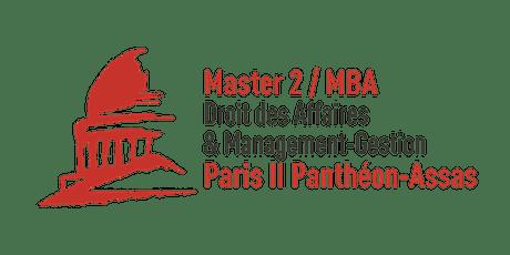 Réunion Zoom M2/MBA Droit des affaires & Management-Gestion Paris II billets