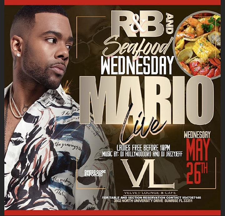 R&B Wednesday and Seafood hosted by Mario image