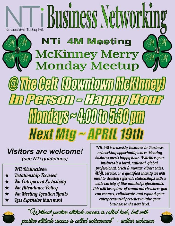 NTi 4M (McKinney Merry Monday Meetup) Business Networking Meeting image