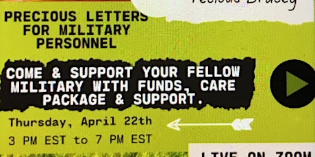 Precious Letters for the Military Personnel fundraiser tickets