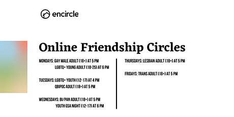 Online LGBTQ+ Young Adult (18-25) Friendship Circle tickets
