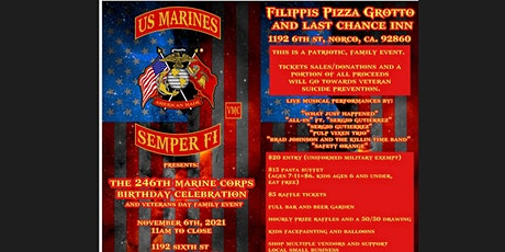 246th Marine Corps Birthday Celebration and Veterans Day Family event tickets