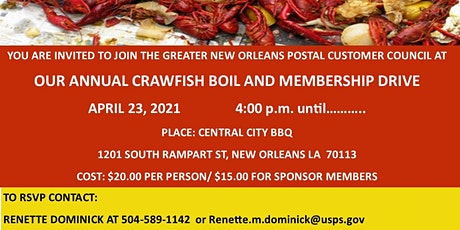 GREATER NEW ORLEANS POSTAL CUSTOMER COUNCIL (PCC) ANNUAL CRAWFISH BOIL tickets