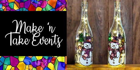 Stained Glass Wine Bottle - Snowman tickets