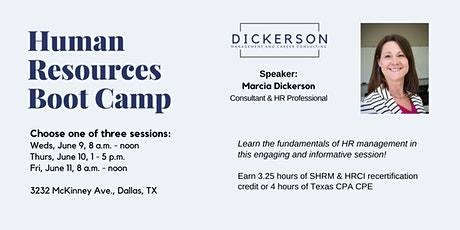 Human Resources Boot Camp (In-person event - SHRM/HRCI recert & CPA CPE ) tickets