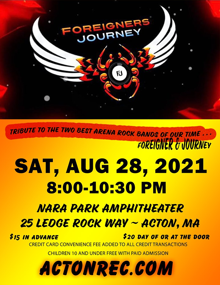 Foreigners Journey  - New Date, Sat., August 28, 2021 image