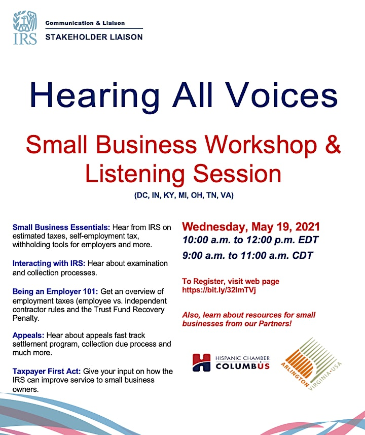 IRS Hearing All Voices Small Business Meeting image