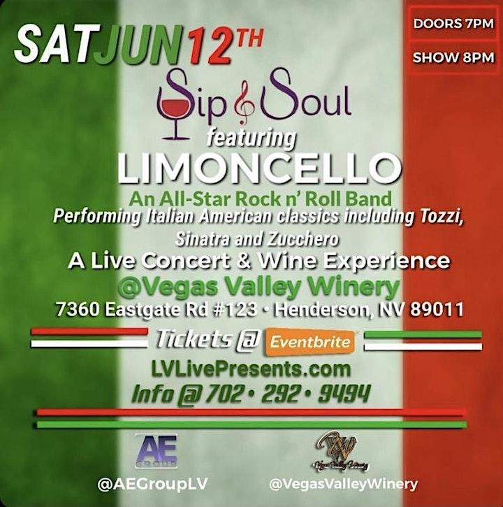 Sip & Soul - A Night of  Live Italian Music & Wine f/ LIMONCELLO image