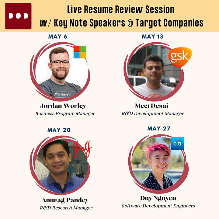 Live Resume Review Session with Key Note Speakers @ Target Companies image