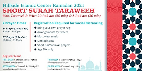4th Week Taraweeh  Registration - HIC Ramadan 2021 tickets