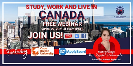 FREE WEBINAR : STUDY, WORK AND LIVE IN CANADA tickets