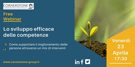 """Webinar gratuito """"Lo sviluppo efficace delle competenze"""" biglietti"""