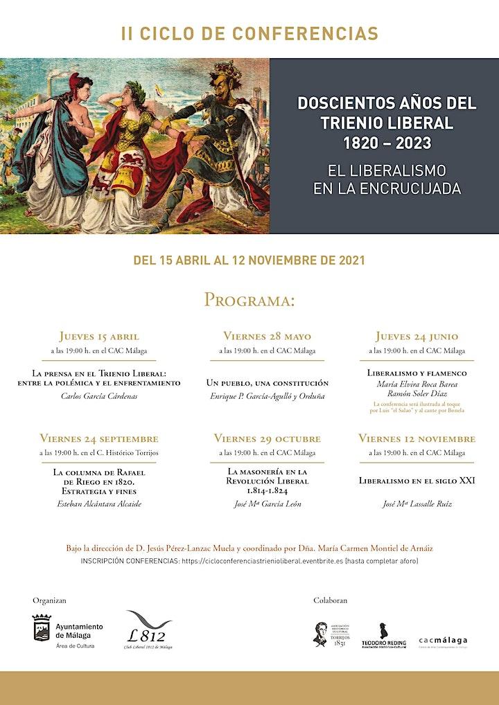 Imagen de II CICLO DE CONFERENCIAS - DOSCIENTOS AÑOS DEL TRIENIO LIBERAL 1820 – 2023.