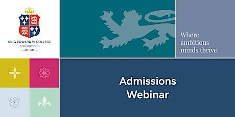 King Edward VI College - Admissions webinar tickets