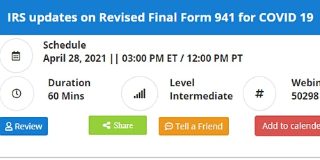 IRS updates on Revised Final Form 941 for COVID 19 tickets