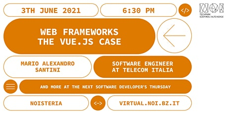 Software Developers' Thursday - Web frameworks: the Vue.js case biglietti