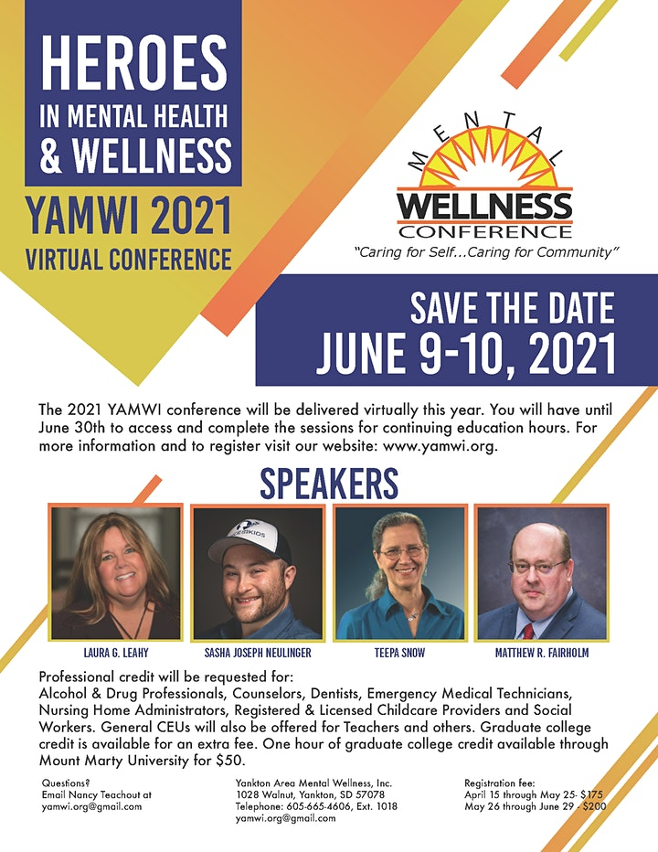 Heroes in Mental Health & Wellness - YAMWI 2021 Virtual Conference image