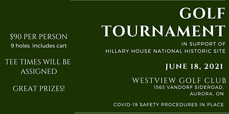 Golf Tournament in support of Hillary House National Historic Site tickets