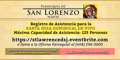 DOMINGO, 25 Abr 2021 @ 12:30 PM Registración para la Misa  EN VIVO boletos