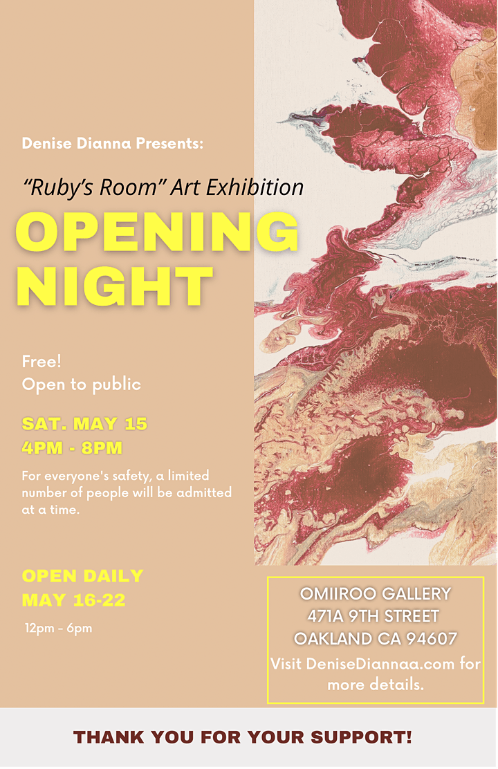 """Denise Dianna Presents: """"Ruby's Room"""" Art Exhibition  OPENING NIGHT image"""