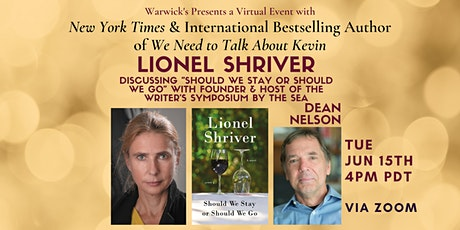 Lionel Shriver discussing SHOULD WE STAY OR SHOULD WE GO tickets