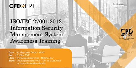 ISO/IEC 27001:2013 ISMS Awareness Training tickets