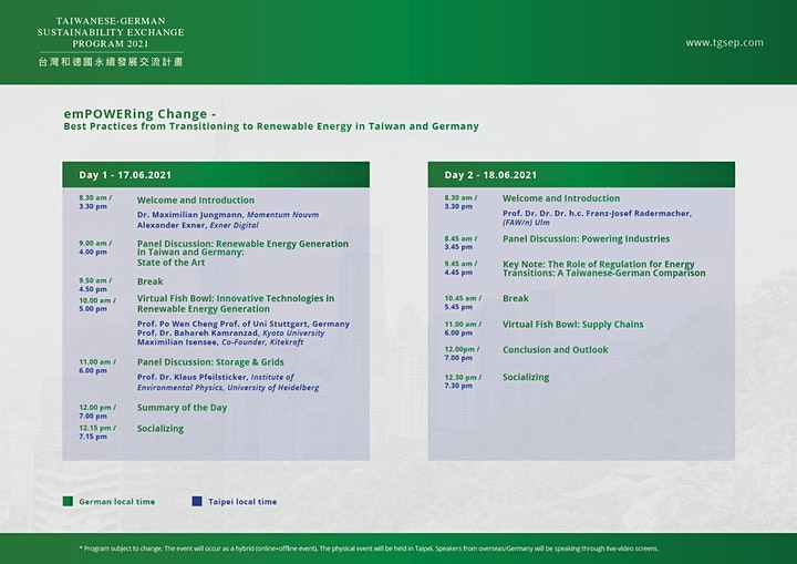 Taiwanese-German Sustainability Exchange Program (Online) image